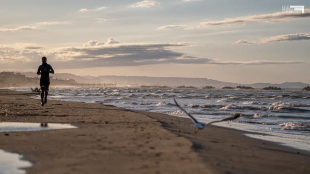 La spiaggia di Francavilla al Mare: un runner e un gabbiano